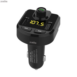 Wholesale Micro Bluetooth Handsfree - 2017 Bluetooth Car Kit Handsfree FM Transmitter With Dual USB 4.1A Quick Charge Voltage Display Micro SD TF Music Playing