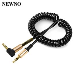 Wholesale Audio Video Speakers - NEWNO Coiled 3.5mm AUX Audio Cable 3.5 Jack Male to Male Gold-Plated Stereo Audio Video Cable for headphone Computer Car speaker