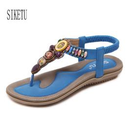 Wholesale High Strung Beads - High Quality Summer Women Gladiator Sandals Black Blue Pink Beige String Bead Diamond Flats Sandals Female Students Sandals Shoe