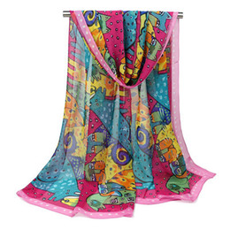 Wholesale Lightweight Fashion Scarves - Women Scarves 2018 New Designer Animal Painted Chiffon Sheer Scarf Shawl Colorful Eurpoean Style Lightweight Breathable