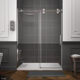 Puertas corredizas de ducha de vidrio online-El vidrio no incluye 4 ruedas Rodillos Bypass Puerta corrediza cromada Framelss Puerta de ducha de acero inoxidable
