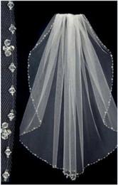 Wholesale Wedding Veils Beaded Edge - Hot Sale Short Bridal Wedding Veils Beaded Edge Free Shipping Tulle One Layer Bride Head Veils
