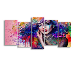 Wholesale Colorful Posters - 5 pieces high-definition print artwork Colorful womens canvas oil painting poster and wall art living room picture SCM-001