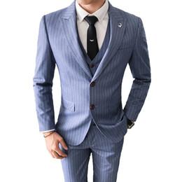 3 Piezas traje de calidad superior hombres moda raya traje masculino cena para hombre trajes de fiesta esmoquin padrinos de boda vestido de novia 4XL-M desde fabricantes