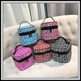 Wholesale Makeup Cosmetics Bag - 5 Colors PINK Makeup Bag Handbags Love Pink Cosmetic Bags Double Zipper Handbag Portable Storage Bags Pink Cosmetic Box CCA8691 20pcs