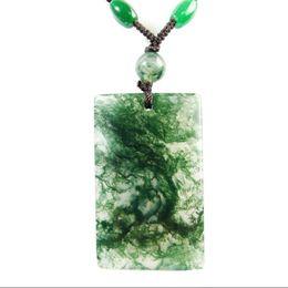 Piedra de jade de agua online-Ágata de hierba de agua natural seguro nada tarjeta colgante original piedra océano calcedonia colgante de musgo colgante de joyería