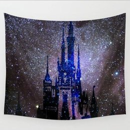 Wholesale Beach Towel White Orange - Psychedelic Castle and Stars Starry Sky Fabric Wall Hanging Tapestry Home Decor 243*180cm Table Cover Yoga Beach Towel