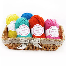 Wholesale Hand Knit Cotton - 10pcs 300m DIY Knitting for Rugs Woven Thread Cotton Cloth Yarn Creative Hand Crocheted Basket Rug Blanket Hat Elastic Crochet Cloth Tape 10