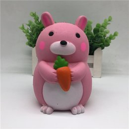 Wholesale Kids Eating - Rabbit Eat Carrot Squishy Cute 12.5cm Jumbo Slow Rising Phone Straps Cartoon Cream Scented Bread Kid Fun Toy Gift Free Shipping