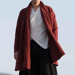 Argentina MRDONOO Gabardina de viento chino retro en el párrafo largo lino suelta chaqueta de algodón de gran tamaño chino Hanfu Buda de los hombres F21 supplier men loose linen jacket Suministro