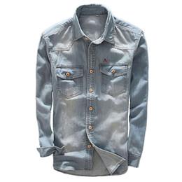 2020 nuevos jeans modernos Dudalin Nueva Camisa Jeans Masculina Denim Manga larga Sergio k Jeans Camisas de alta calidad azul moderno simple clásico camisas delgadas nuevos jeans modernos baratos