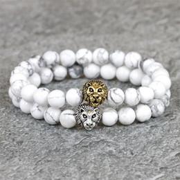 Mãos de leão on-line-2017 Leão de Ouro Mens Pulseiras 8mm Branco Howlite Pedra Natural Talão Mão Leo Pulseiras de Buda Homme