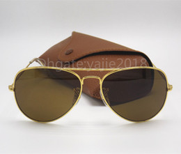 Wholesale Mens Designer Eye Glasses - High Quality Classic Pilot Sunglasses Designer Brand Mens Womens Sun Glasses Eyewear Gold Metal Black 58mm 62mm Glass Lenses Brown Case
