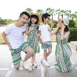 Wholesale mom son outfits - Family Matching Outfits Summer Mom and Daughter Seaside Vacation Beach Long Dress Father and Son T-shirt Family Clothing Sets