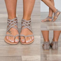 Flache Ferse Clip Toe Aushöhlen Roman Knöchel Sandalen Flip Flops Chunky Heels Beach Schuhe von Fabrikanten