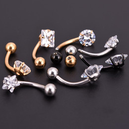 Wholesale Ear Rings Star - New Anti Allergy Lounger Titanium Earrings Ear Nail Belly Button Rings Navel Piercing Star Heart Round Crystal Jewelry