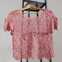 2019 blusas de moda coreana al por mayor venta al por mayor ahueca hacia fuera la blusa de encaje Tops mujeres Casual elegante encaje Tops manga de la moda coreana estilo blusas blusas de moda coreana al por mayor baratos
