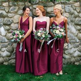 Vestido longo de tafetá cor de vinho on-line-Custom Made Borgonha Longo Da Dama De Honra Vestidos Formais Querida Tafetá Desgaste da Noite das Mulheres Zipper Voltar 3 Estilo de Vestido de Baile