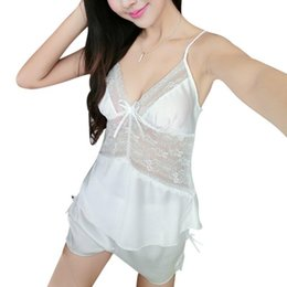 13c566d3a1 Wholesale- Sexy Women Bride Lingerie Lace White Pajamas Negligee Pyjamas  Vintage Nightgown Miniskirt CY3