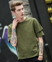 Wholesale men strip clothes - Summer Solid Double Sleeve T-shirt Men Hip Hop Tshirts Urban Kpop Tee Shirts Mens Clothing With Strip