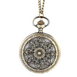 Wholesale Wholesale Vintage Style Pocket Watch - Vintage Steampunk Hollow Flower Quartz Pocket Watch Necklace Pendant Chain Clock 11 Style Optional Gifts LXH