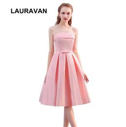 sexy cumpleaños nueva moda niña princesa satén rosa sin tirantes té vestido de dama de honor vestidos de fiesta vestido envío gratis desde fabricantes