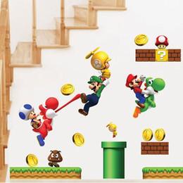 Adesivi murali 60x30cm Adesivi murali Super Mario per camerette per bambini Adesivi murali per bambini Camera da letto Home Decor (Dimensioni: 30X60CM) da farfalle decorazioni da giardino fornitori