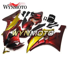 Wholesale Yamaha R6 Gold - Full Fairings For Yamaha YZF R6 2006-2007 06 07 Injection ABS Motorcycle Motorbike Bodywork Matte Gold Red Body Kits Customized Covers New