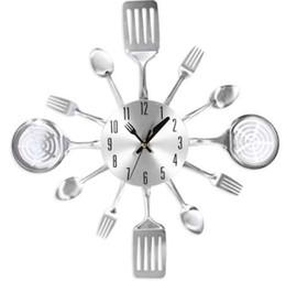 Монтировочный нож онлайн-Металлический Нож Вилка Домашний Офис Настенное Крепление Аналоговые Часы Из Нержавеющей Стали Нож И Вилка Ложка Кухня Ресторан Настенные Часы