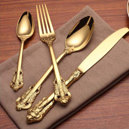 Wholesale Yellow Cutlery - High Quality Luxury Golden Dinnerware Set Gold Plated Stainless Steel Cutlery Set Wedding Dining Knife Fork Tablespoon