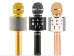 Wholesale Iphone Speaker Microphone - WS-858 Wireless Speaker Microphone Portable Karaoke Hifi Bluetooth Player for iphone 6 6s 7 ipad Samsung Tablets PC Freeshipping