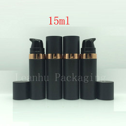 Wholesale 15ml Airless Container - 15ml Black Empty Cosmetic Sample Bottle Airless Pump 15g Skin Care Personal Care Plastic Airless Lotion Cream Sample Containers