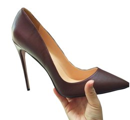Wholesale Stiletto Heel Size 44 - Wholesale high heels Black Nude Sheepskin pointed-toe stiletto heels shoes woman wedding shoes size 34-44.