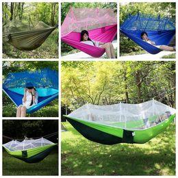 Hamaca ligera online-260 * 140 cm hamaca portátil con mosquitero ligero transpirable hamaca colgando de la cama doblada en la bolsa para viajes de camping T1I568