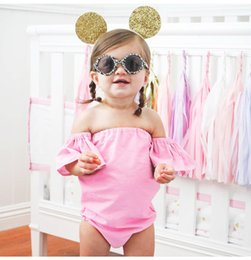 Wholesale Girl Strapless Jumpsuit - INS Girls Princess Romper New 2018 Summer Fly Sleeve Infant Bodysuit Cute Strapless Toddler Onesie Baby Jumpsuit C2880