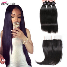 Wholesale Virgin Malaysian Hair Extensions - Cheap 8A Brazilian Virgin Hair Straight With 4x4 Lace Closure Human Hair Extensions Weave Bundles Wefts Wholesale 3Bundles With Closure