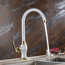 Wholesale full sink - Kitchen Taps White Paint Gold Faucet Kitchen Faucet Hot And Cold Vegetables Basin Sink Full Copper LX-2114