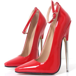"2020 pumpe bdsm 18cm 7 ""Stiletto Fetisch Scharfe Zehe Mary Janes Knöchelriemen Wrap hochhackige Pumps Spike Metall High Heels BONDAGE BDSM Latex Red Heels günstig pumpe bdsm"