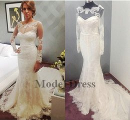 Wholesale bridal dress china mermaid - Real Picture Mermaid Long Sleeve Wedding Dresses Made in China Lace Court Train Bohemian Boho Bridal Gowns vestido de novia robe de mariée