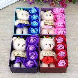 Wholesale Teddy Bears For Valentines - Romantic Rose Soap Flower With Little Cute Teddy Bear Doll 4pcs Box Gift For Valentine Day for Wedding Birthday Mall Promotion Gifts