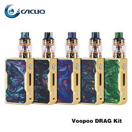 mod d'or Promotion Kit Voopoo Drag 157W TC avec réservoir Uforce ecigarette Dual 18650 Cellules vape mod Gold Color Version 100% Original