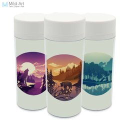 Wholesale Deer Art - Personalized Natural Drinkware BPA Free Plastic Insulated Abstract Wild Forest Animal Deer Bear Wolf Water Bottle 300ml Art Gift