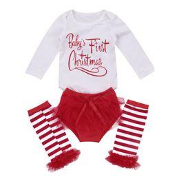 vestiti lunghi di calzini Sconti 3pcs Set Infant Toddler Baby Boy Girl Clothes Set Top Pagliaccetto + Calze lunghe Abiti da Natale Abiti