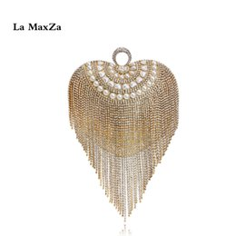La Maxza Tassel Bag Fruitless Luxurious Bag Best Seller Ladies Dress Dinner Wedding Clutch Spettacolo serale da