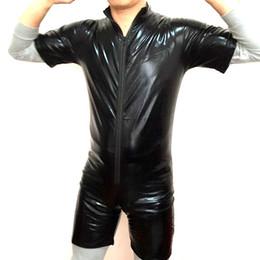 Мужская лакированная кожа с коротким рукавом боди молния передняя цельный оболочка купальник клуб бар партия мужской гей боди supplier zipper front leather bodysuit от Поставщики кожаный комбинезон на молнии