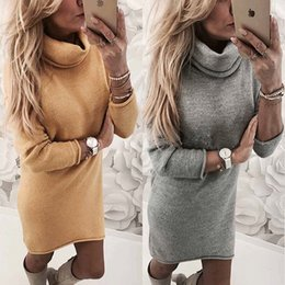 Wholesale Long Sleeve Winter Work Dresses - Spring Winter Fashion Knitted Sweater Dresses Turtle Neck Long Sleeve Straight Office Dress
