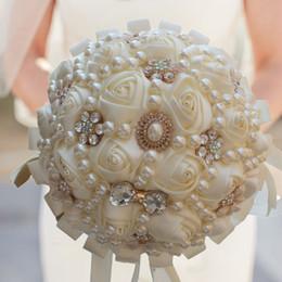 piante di rose desertiche Sconti Spedizione gratuita Moda fiori matrimonio Splendida colorato Rose Romantico Bridal Hold Fiore di perle di cristallo Bouquet da sposa Accessori per eventi