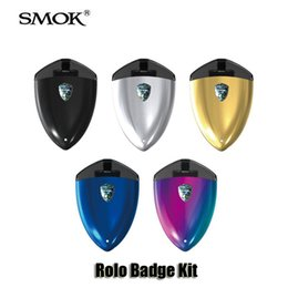 Wholesale silver badges - 100% Original SMOK Rolo Badge Kit Built in 250mAh Battery 2ml Cartridge Atomizer AIO Pod Vape Pen Kit Smoktech