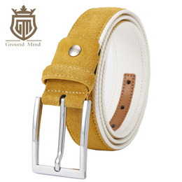 Wholesale Active Brush - Fashion Suede Leather Men's Golf Belts High Quality Genuine Leather & Cotton Belt Luxury Brushed Nickle Pin Buckle
