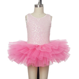 Wholesale Kids Ballerina Costume - Lovely Shining Sequin Bodice Pink Child Ballet Tutu Kid Performance Dance Costume Ballerina Stage Wear Girl Party Birthday Dress